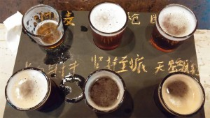 Clockwise from top left: Mighty Mo's Pacific Ale 美国小麦 (Citra Dry-Hopped); Man with the Golden Hop Country Ale 不老金抢; Seeing Double 断片儿 IPA; Pilgrim's Progress Amber Ale 天路历程; The Bitter End Rye PA 坚持到底; Longbow Men English IPA 长弓射手