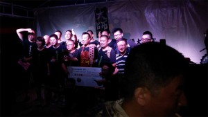 Geng joined on stage by his fellow Hebei contestants.